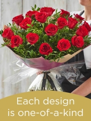 Valentine's 18 red rose hand-tied made with premium roses
