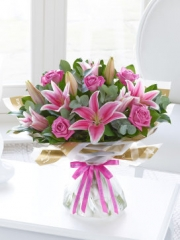 Happy Birthday Pink Rose and Lily Hand-tied
