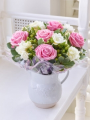 Baby Fragrant Pink Rose and Freesia Jug