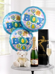 Celebratory Champagne, Baby Boy Balloons and Teddy Bear
