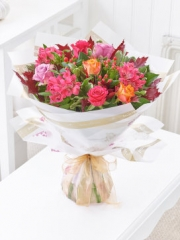 Autumn Rose and Alstroemeria Hand-tied