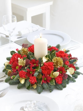 Christmas Candle Table Arrangement